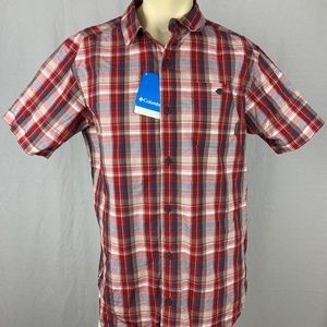 Columbia Mens Button Front Shirt Size M Red NWT